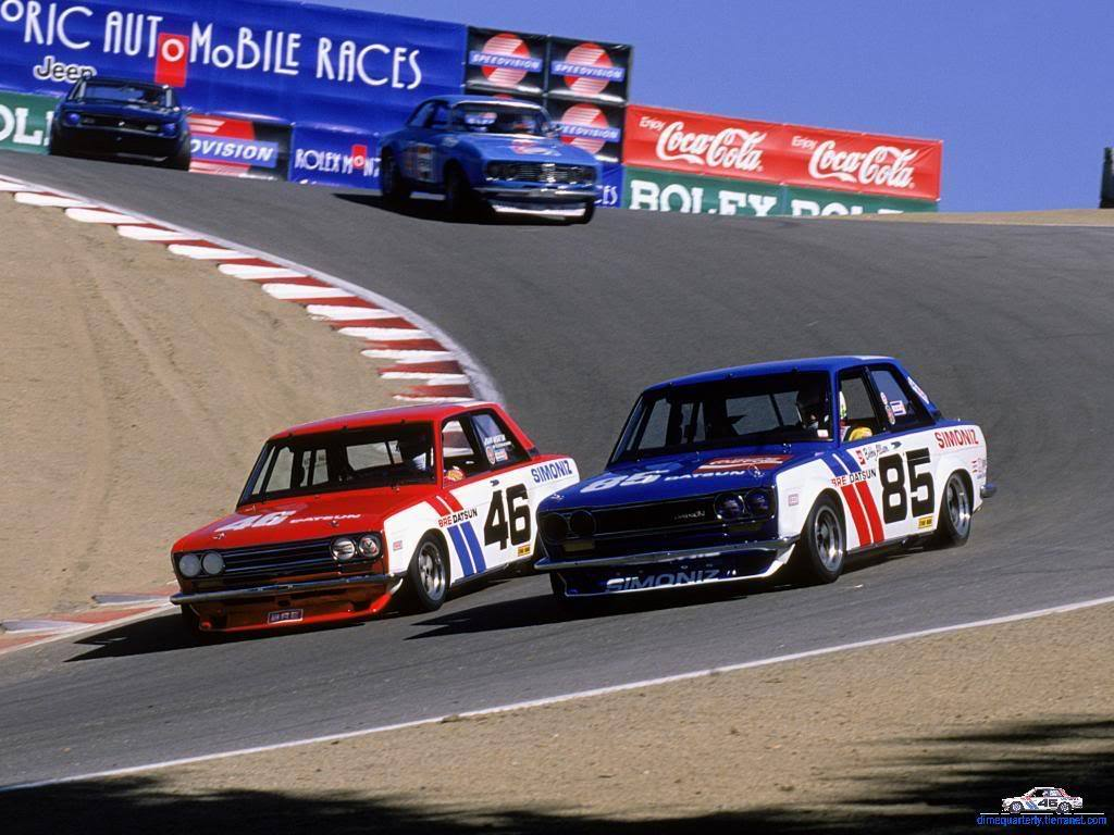 topvehicles:  Two BRE Datsun 510's on the corkscrew @ Leguna Seca