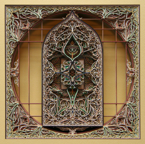 laughingsquid:  Laser Cut Paper Stained Glass Window Sculptures