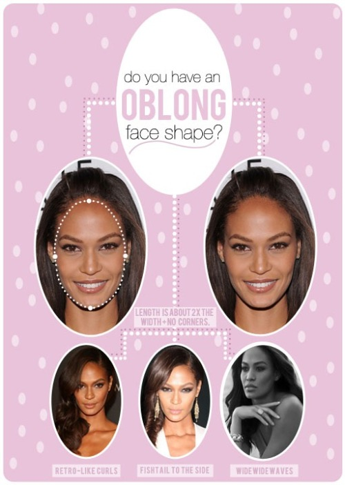 "HAIR TALK: OBLONG FACE SHAPE You want to make sure you are letting the cheekbones be clear and visible with an oblong shape. Here are some great ideas for all of you beautiful oblong girls!  RETRO-LIKE CURLS-  Set the hair and give it some real bounce. The softness of a retro curl can make everything feel more ""round"" and less long even when it's not. Curls are an amazing way to add width to your silhouette but always keep in mind you want width, not height with oblong! SIDE SWEEP- As crazy as this sounds– ears help you gain width. Sweep all the hair over your shoulder and make sure you show an ear when there's a lot of curl or texture going on. In the main photo above, if you cover Joans ears, the face appears much more narrow. When you see the ears it tricks your eye into thinking the face is a teeny bit wider than it actually is. Notice that Joan shows ear in just about every photo and that's because her hair is cleared away from the face and that allows the cheekbones to come through! WEAR EARRINGS- I know this isn't a hair trick but it's still a trick. Earrings that dangle near the sides of your face (especially ones that are close to your skins own tone) help to draw out the overall silhouette. Try lighter golds for pale skin and bronzy colors for darker skin. Sounds crazy but it works!! WIDE WIDE WAVES- This may be where you need to learn how to flat iron curl. You can create a great wave pattern around your face with more control over where the waves hit when you use a beveled flat iron to do it. Hmmm… tutorial?? You want the widest part of the curls to hit right at your cheekbones. The hair should almost mimic the cheekbone, but be wider. If you look at the bottom right photo of Joan, you see that the widest part of the wave around here face is right around her cheekbone/ear area. Make that happen! You may have to spend a little time figuring out how to wrap the hair around a curling iron but it's worth spending the time. BLOWOUTS- Again, you're seeking width, so set the hair however you like but keep it off the face. Give it a good warm burst of air around your face at the end and lightly hit your hairline with hairspray. Do what you can to keep the hair from hugging your face. HAIRCUTS- Honestly, you're not that limited on haircuts with an oblong face shape. The only thing you should really steer clear of is hard bobs that make you appear longer and really long sleek straight hair with no layers or movement. Everything else can be styled accordingly to create the illusion of a wider face. CURLY GIRLS- As Carrie Bradshaw proved to the world, curly girls with oblong face shapes are the chic-est. Let those curls be if you have them! Allow them to be loose + wild + off your face to widen the overall sillhouette. You of course need a great haircut to manage major curls, but once you have that, you're all set. Curly hair for an oblong face is ideal because of the horizontal volume it gets naturally. Credit: The Beauty Department"
