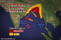Tropical Cyclone Targets India, Bangladesh, Myanmar  Tropical Cyclone Mahasen (01B), is just east-northeast of Sri Lanka, will bring impacts to areas from northeast India to Bangladesh and Myanmar, along the Bay of Bengal.