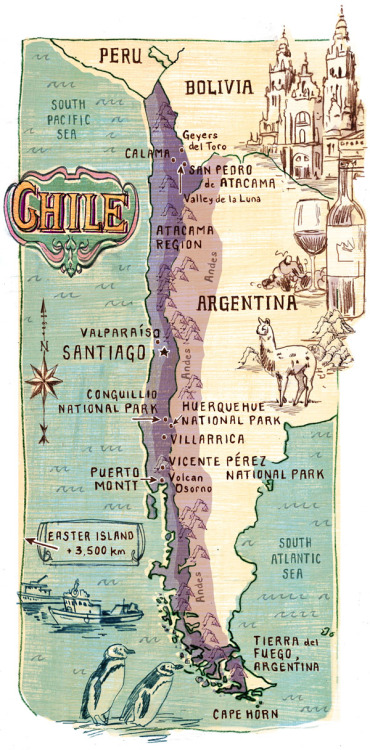 mapsontheweb:  Illustrated map of Chile