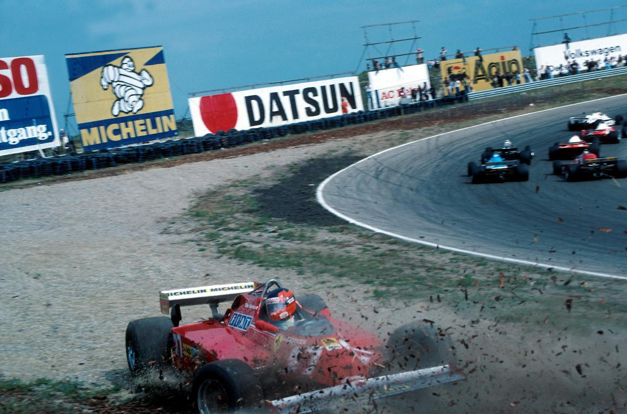 Gilles Villeneuve spins off at the first corner at the Dutch Grand Prix with his Ferrari 126 CK at Zandvoort, 30 August 1981.