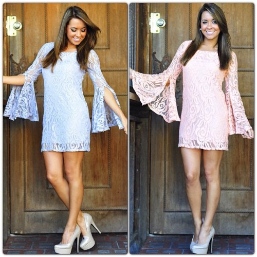 shophopes:  Flower Fixation Dresses— We are in love with this dress! The dress is fully lined with a flower lace overlay, and adorable bell sleeves! It fits true to size and fits tastefully tight to the body. We know you will feel and look amazing as soon as you put the dress on! Perfect for any occasion this summer, get yours while you can ladies! :) Available in Lilac & Peach! Only $42.99 at shophopes.com with FREE shipping! 🌸🌸🌸 #lace #floral #shophopes #freeshipping