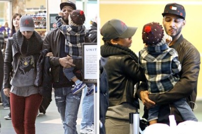 Alicia Keys + Swizz Beatz with their son Egypt at VancouverInternational Airport on Sunday