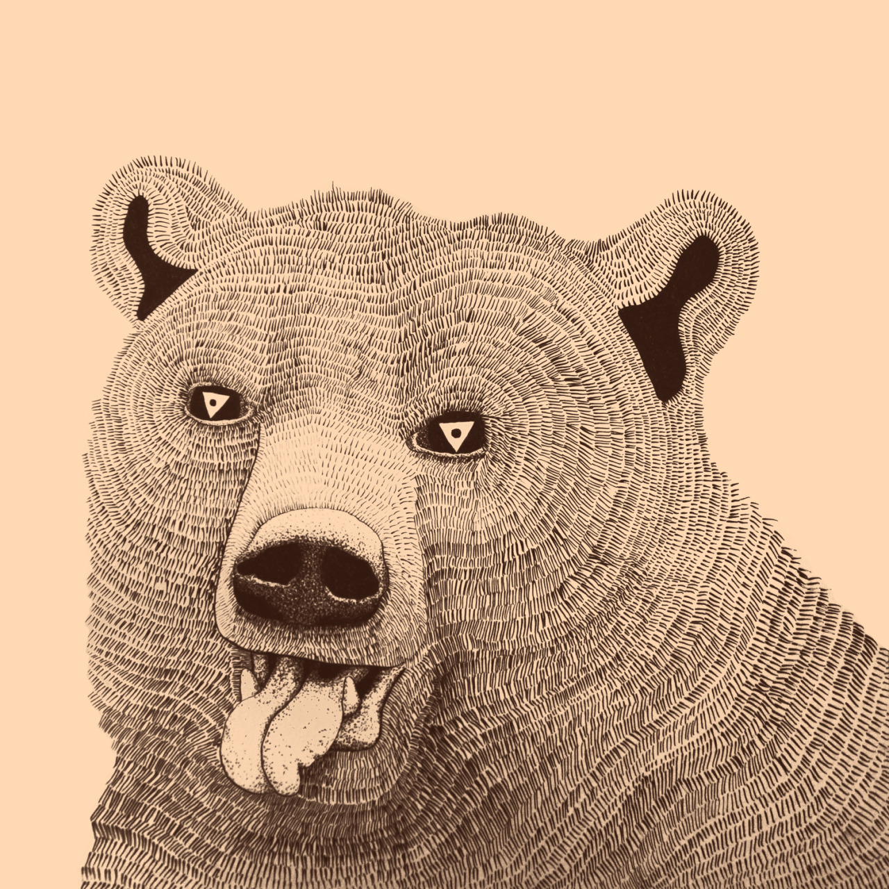hungry bear. drawing by geirarne/ballad of the dyeing dart frog 2013