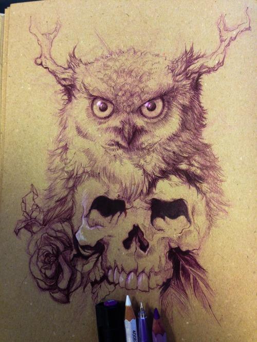 Ilias Patlis - Owl and skull (sketch)