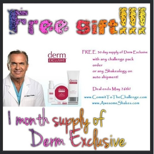 Giveaway time! Get a FREE 1 month supply of Derm Exclusive with any Shakeology autoship or challenge pack order! Get fit and beautiful inside and out :) #DermExclusive #skincare #fitness #P90X #Shakeology #Insanity #HIIT #cardio #liftweights