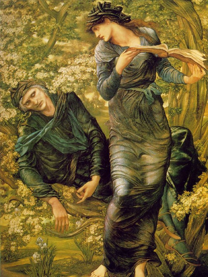 Burne-Jones, Edward [British Pre-Raphaelite Painter, 1833-1898]The Beguiling of Merlin1874Oil on canvas186 x 111 cm (73 x 43 3/4 in)National Museums and Galleries on Merseyside