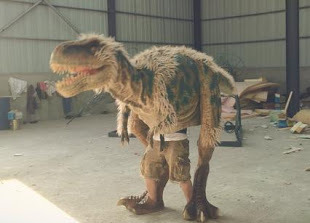 Walking with dinosaur costume