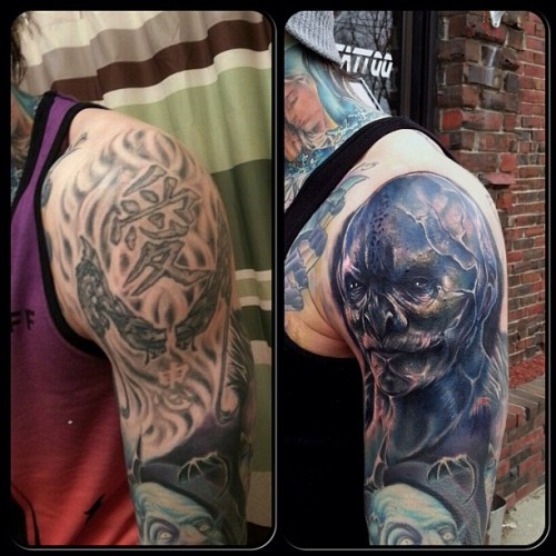 Phone pic of a cover-up today on @tylermalek Get some better pics when we can get into the background. #chadchase #formula51 #vampire #underworld