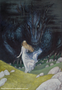 tolkien-inspired-art:  Nienor and Glaurung by ~ekukanova