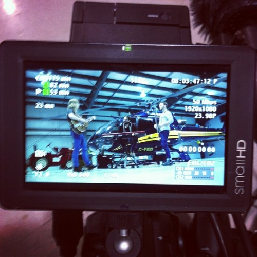 Filming in a helicopter hanger with Kate Rogers Band