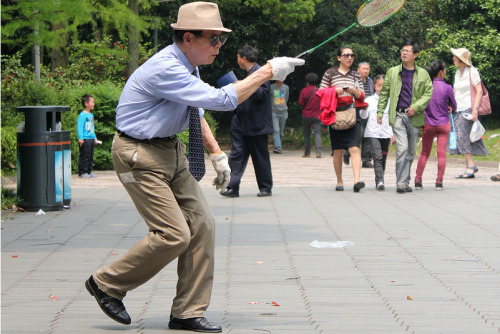 Photo: Badminton in People's Square, by Tim Sheerman-Chase http://bit.ly/YqHiUD