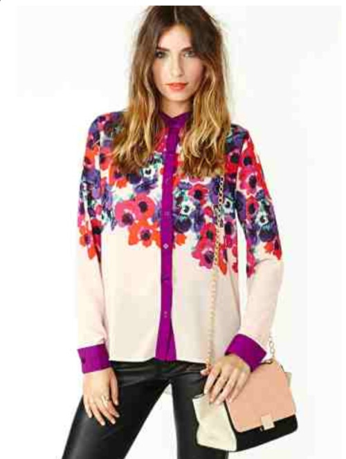 New purchase (Bloom Street Blouse from Nasty Gal).  Been seeing the floral trend EVERYWHERE, so I am excited to try out this new top from Nasty Gal.  I love the bright colors.  I plan to wear with my favorite faux leather pants from Tripp NYC (the fit is amazing!).