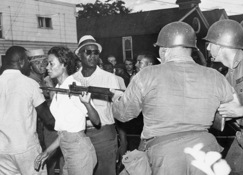 clintisiceman:  Gloria Richardson pushes a national guard bayonet out of her face during a 1963 civil rights protest in Maryland.