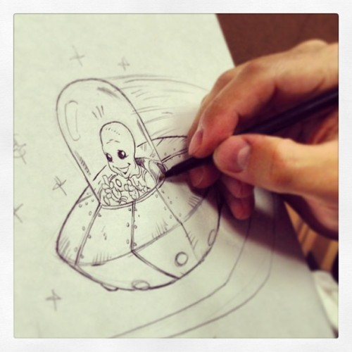 This little guy is off to Texas! #ufo #spaceship #alien #sketch