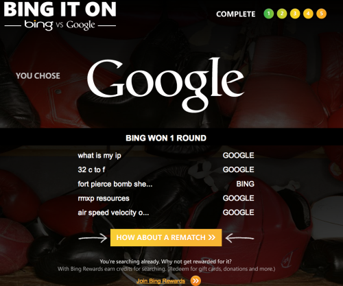 I took the bing challenge.  Google won.