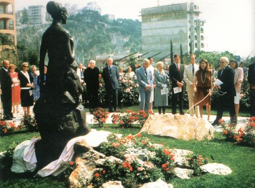 "graceandfamily:  Inauguration of the ""Princess Grace Rose Garden"" by Prince Rainier and his children, Caroline, Albert and Stephanie, and his son-in-law, Stefano Casiraghi, Caroline's husband, on June 18, 1984."
