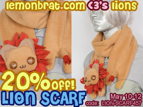 ~Lion Weekend Sale~ May 10th-12th link to Lion Scarf: http://www.lemonbrat.com/store/#!/~/product/category=4184347&id=19480075 In honor of Lemonbrat's Lion month http://www.lemonbrat.com/2013/05/03/may-wwf-adoption-lion/ our Lion Scarf is 20% OFF this weekend, May 10th-12th! Sale price $28.00, regular price $35.00. Use the code: LION-SCARF457