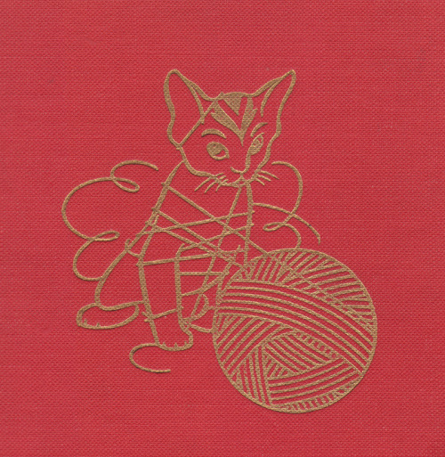Detail from front board of Practical Family Knitting Illustrated, 1947 reprint.