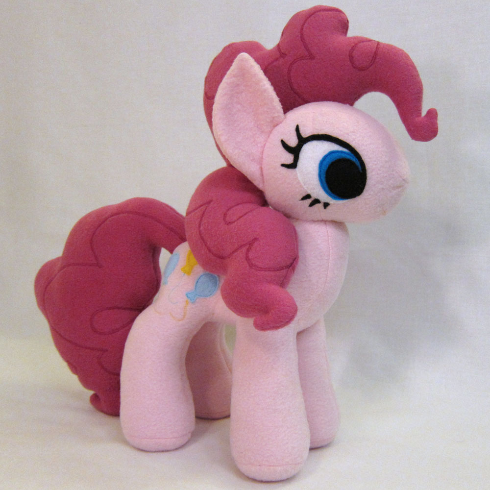 "Pinkie Pie plush! She is 15"" tall, made with no-pill fleece, polyester fiberfill stuffing, and felt applique eyes/cutie mark.  She is for sale [HERE]! Auction ends 2/2/13 03:18:21 PST"