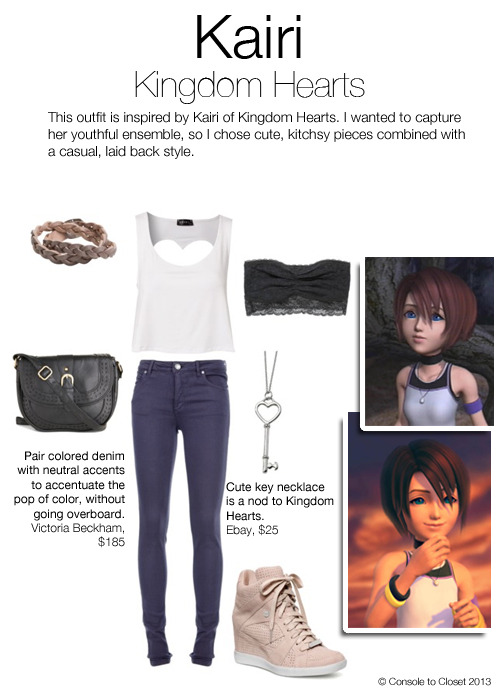 Inspired by Kairi from Kingdom Hearts Top: Nelly - Open Back Top, $28 / Jeans: Tessabit - Victoria Beckham Jeans, $185 / Shoes: Coach - Alexis Wedge Sneakers, $188 / Bandeau: Aerie - Lace Bandeau, $13 / Bag: ModCloth - Twists of Licorice Bag, $45 / Necklace: Ebay - Stainless Steel Heart Key Necklace, $25 / Bracelet: Swell - Lucca Couture Braided Bracelet, $35