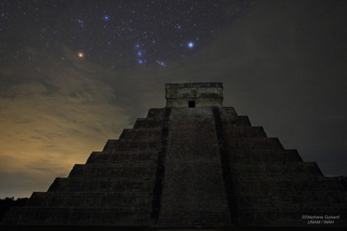 thenoobyorker:   APOD: Orion over El Castillo  Image Credit & Copyright:  Stéphane Guisard (Los Cielos de America, TWAN) Credits: D. Flores and B. Pichardo (Inst. Astronomia UNAM), P. Sánchez and R. Nafate (INAH)    Explanation:  Welcome to the December solstice, a day the world does not end … even according to the Mayan Calendar. To celebrate, consider this dramatic picture of Orion rising over El Castillo, the central pyramid at Chichén Itzá, one of the great Mayan centers on the Yucatán peninsula. Also known as the Temple of Kukulkan it stands 30 meters tall and 55 meters wide at the base. Built up as a series of square terraces by the pre-Columbian civilization between the 9th and 12th century, the structure can be used as a calendar and is noted for astronomical alignments. In fact, the Mayans were accomplished astronomers and mathematicians, accurately using the cyclic motions of the stars, Sun, Moon, and planets to measure time and construct calendars. Peering through clouds in this night skyscape, stars in the modern constellation Orion the Hunter represented a turtle in the Mayan sky. Tak sáamal.   Gorgeous.   F U NEIL DEGRASSE TYSON!!!