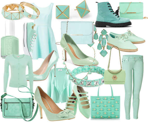 LoveLoveLove by ilovenypam featuring mint green jeansForever New high neck dress, $105 / Allude mint green top, $390 / Mint top, $15 / True Religion mint green jeans / Loeffler Randall lace up shoes, $260 / Coach high heel / Ivanka Trump stilettos shoes / Ankle wrap flat / Low heel booties / Office suede shoes, $92 / Converse  trainers, $67 / Mulberry mint bag / Kate Spade metallic handbag / Vince Camuto leather crossbody handbag / Genuine leather handbag / Mint green handbag / Kate Spade  jewelry / House of Harlow 1960 pyramid necklace / Kate Spade  jewelry / Bracelets bangle / Pieces bracelets bangle, $24 / Essie , $12
