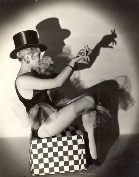 Thelma Todd and her shadow puppet bunny  - c. 1930s