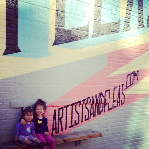 Li-Yen and Brook Lyn say 'Come to Artists & Fleas this weekend!' @artistsandfleas #Williamsburg #Brooklyn #NYC #market #BeAwesome #ChalkboardTee #Cuties