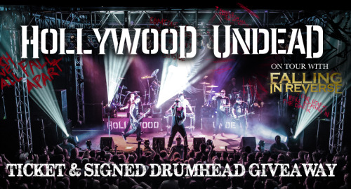 vikwinchester:  Hollywood Undead is embarking on a spring US tour with support from Falling in Reverse and American Fangs. To celebrate, Hollywood Undead is giving away two tickets to one winner for each date of their tour. At the end of the tour, the band will select ONE GRAND PRIZE WINNER to receive the signed drum head they used throughout the entire tour. Submit your info below and you will be entered to win! Sumbit info!  Spread the word, undead soldiers! ;)