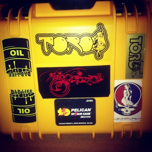 Thanks @mrdablife and Ithaca glass for the hookup on stickers. #retrotoro #whoopzip #dablife #dabwars #dabio #sitonyourface