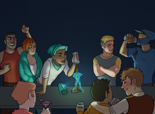 """epsilongrif:   """"Colorful Soldiers Stop Corruption.You know, I really love the picture they used for this thing but I gotta say, I think I love the description more.""""  Tucker shares some drinks with his friends."""