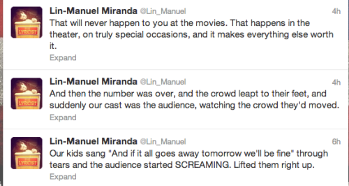 outoftheruinsandrubble:   Lin-Manuel Miranda talking about closing night at Bring It On: The Musical. This is why I love theatre.