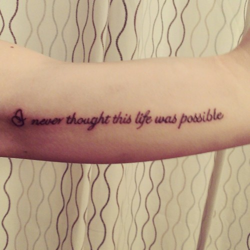 sociallytarded:  my first tattoo. lyrics from my favorite Bright Eyes song Poison Oak.