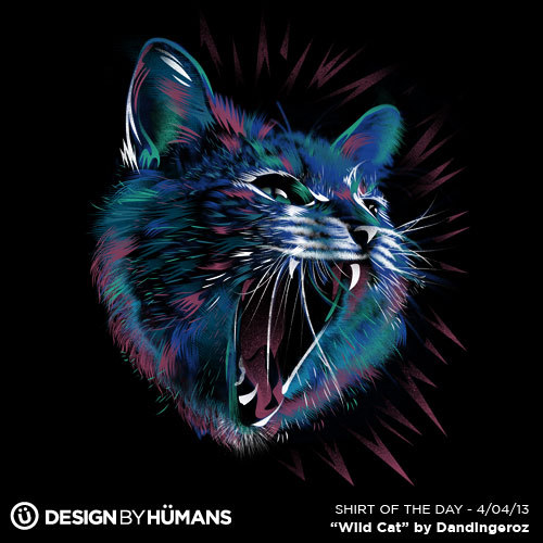"""Wild Cat"" by Dandingeroz On sale today $15 @ http://bit.ly/ShirtOfTheDay"