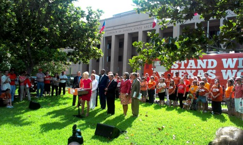 "Senate Dems Board Orange ""Stand With Texas Women"" Tour Bus To Take Abortion Debate Across The State  Democrats estimate they will not be gone long enough to miss a vote on the abortion issue and will not attempt to break a quorum by leaving the state. The group will make stops in Dallas, Houston and El Paso. More…"