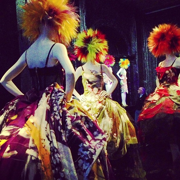 officialstyledotcom:  Dolce & Gabbana splatter painted dresses at the MET Museum!