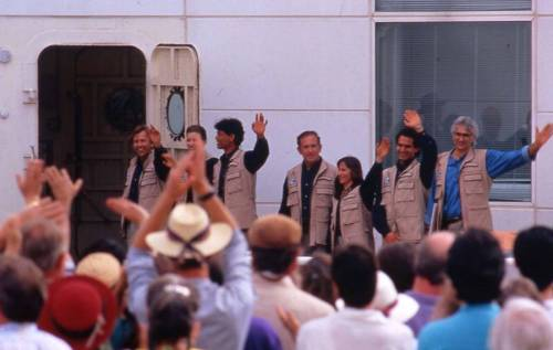 Throwback Thursday - March 6, 1994: Crew 2 enters Biosphere 2 during the closed-mission era.