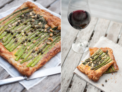 Asparagus Tart with Pine Nuts and Capers from The Forest Feast