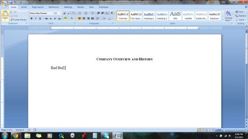 Writing a paper on Red Bull vs. Monster. This is how far I've gotten.