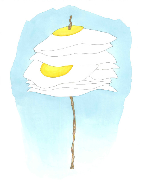 "August 25, 2012 (Fried Eggs)15""x11""ink and watercolor on paper Buy Fried Eggs on Etsy"