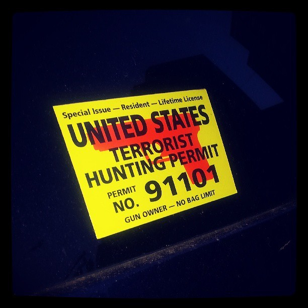 This was on the rear window of a US Marshal vehicle parked on Canal St…. Wow. They huntin'…