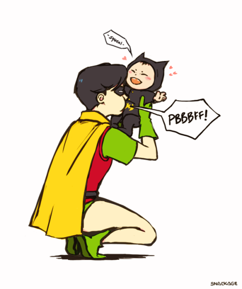 snackage:  Dick & behbeh Damian. In another universe maybe… /sigh I'm really sick today and this is my attempt to cheer/energize myself. Though I shouldn't be near the computer at all. OTL