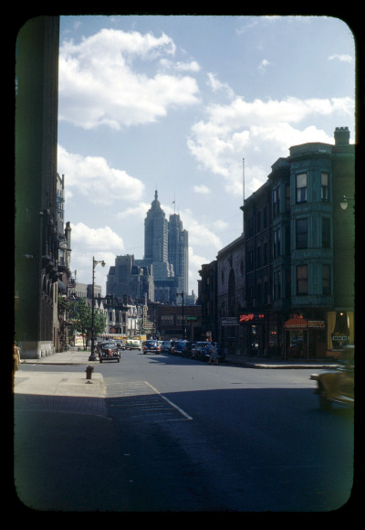 Kodachrome looking south on Rush from Pearson toward Chicago Ave, 1948, Chicago.