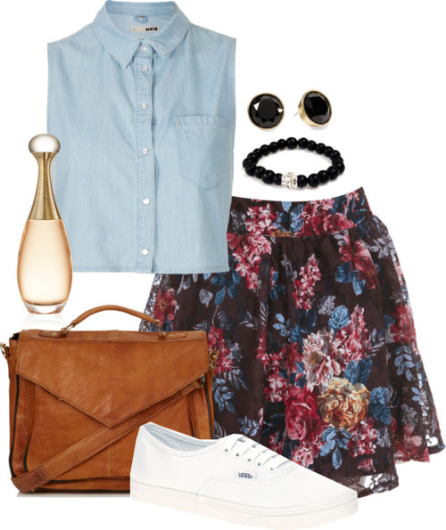 Inspired outfit with a floral skirt  Topshop / Miss Selfridge , $51 / Vans  trainers, $54 / Topshop vintage leather satchel / Silver bangle bracelet / Pim + Larkin round earrings