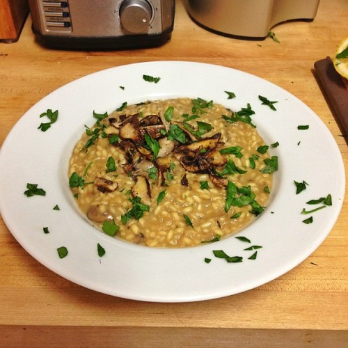 Oozy Mushroom Risotto! Delicious! Thanks, @jamieoliver
