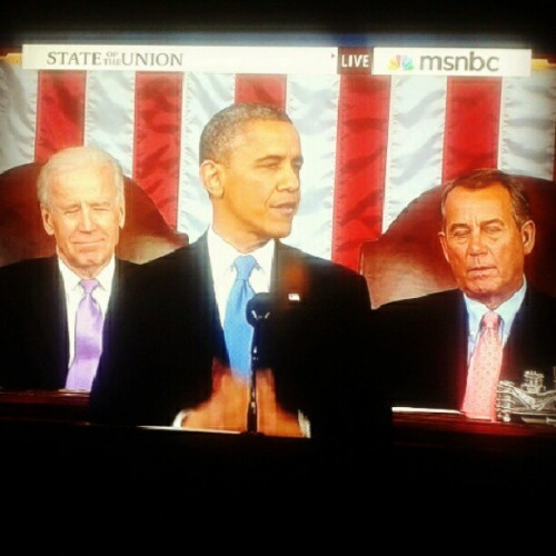 President Obama, Vice President Joe Biden, and Speaker John Boehner at #SOTU speech. #2013SOTU #stateoftheunion #Obama #barackobama #JoeBiden #JohnBoehner #instapolitics #Biden
