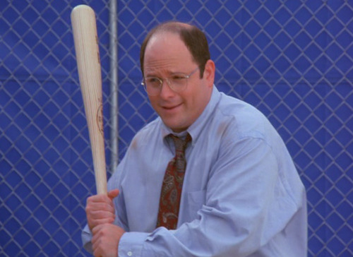 dailyseinfeld:  George: Guys, hitting is not about muscle. It's simple physics. Calculate the velocity, v, in relation to the trajectory, t, in which g, gravity, of course remains a constant. (Hits a home run) It's not complicated.Jeter: Now who are you again?George: George Costanza, assistant to the traveling secretary.Williams: Are you the guy who put us in that Ramada in Milwaukee?George: Do you wanna talk about hotels, or do you wanna win some ball games?Jeter: We won the World Series.George: In six games. (via The Abstinence)    An honorable mention in the Best Seinfeld Sports Moments piece I wrote for ESPN.com in 2004.
