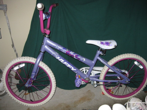 "For Sale for $20.  I have a Light Bike Sea Star bicycle. It's decorated with pink flowers. The handlebar has a decorated pad for safety, matching the bike. The decorated seat is padded, has some wear (Please email me to see a picture). This bike is a single speed bike with easy-to-use coaster brakes for smooth stopping.Huffy Sea Star 20"" Girls' Bike, Light Blue:Age Range: 5-9 yearsFrame: Steel bicycle frame in Light BlueHandlebars: Hi-rise handlebar in pink with decorated crossbar padSeat: Decorated and padded seat with quick-release for easy adjustment (some wear - see picture)Brakes: Easy to use coaster brakesTires: 20"""